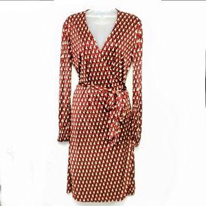 Pink Tartan Silk Geometric Print Wrap Dress